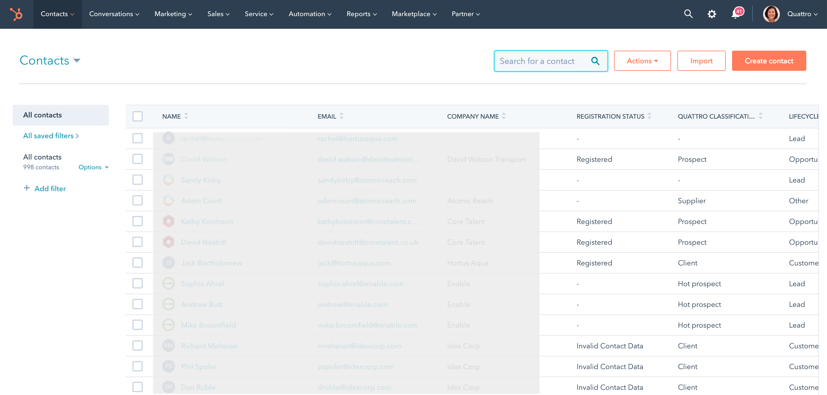 HubSpot CRM screenshot