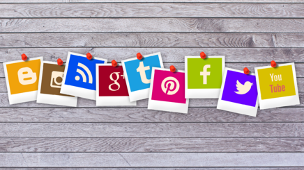 Digital Inbound Marketing Strategy - Social Media Logos hanging on a line
